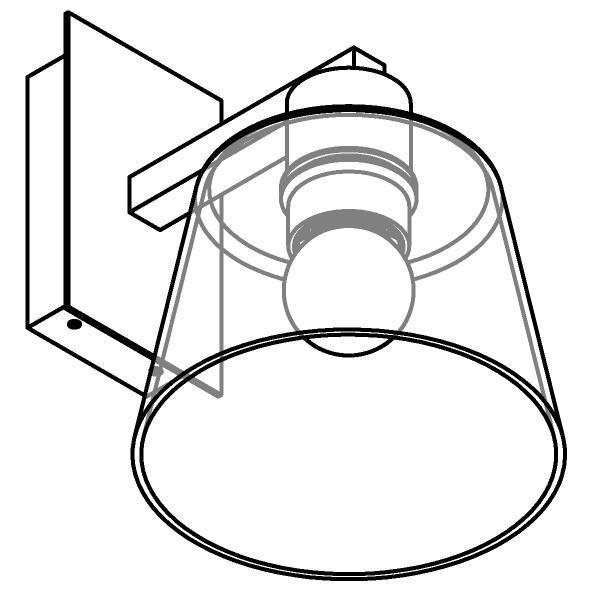 Drawing of 5531.B/.. - SHAKE GLASS, opbouw wandlicht - vast - met E27 fitting