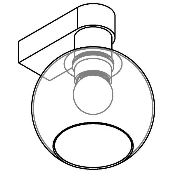 Drawing of 5160.B/.. - MOBY GLASS, opbouw wandlicht - vast - met E27 fitting