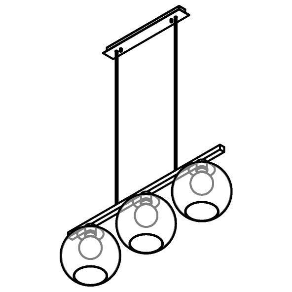 Drawing of 5156.3B.E27/.. - MOBY GLASS, hanglamp met bolgewricht - stang inkortbaar - 3x Moby Ø180