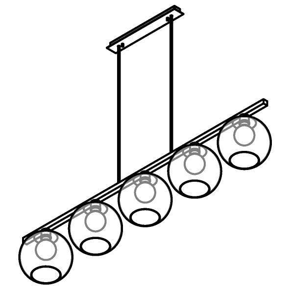 Drawing of 5156.5B.E27/.. - MOBY GLASS, hanglamp met bolgewricht - stang inkortbaar - 5x Moby Ø180