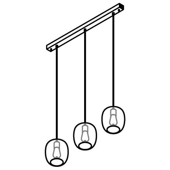 Drawing of 5162.3E/.. - MOBY GLASS, hanglamp - met 3x Moby - 1,5m textielkabel