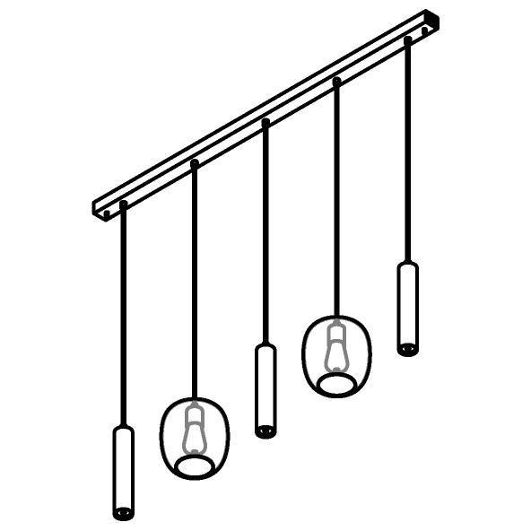 Drawing of 5157.2E.3M/.. - MOBY GLASS, hanglamp - combinatie 2x Moby en 3x Mero - 1,5m textielkabel