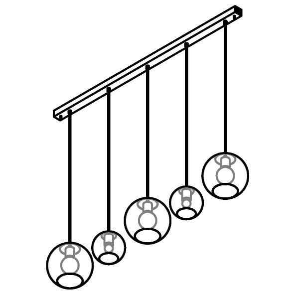 Drawing of 5159.2B.3C/.. - MOBY GLASS, hanglamp - met 3x Moby Ø250 en 2x Moby Ø180 - 1,5m textielkabel
