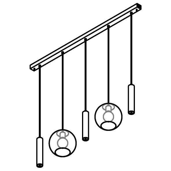 Drawing of 5158.2C.3M/.. - MOBY GLASS, hanglamp - combinatie 2x Moby en 3x Mero - 1,5m textielkabel