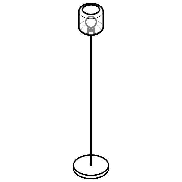 Drawing of 1590.N.E27/.. - MANON, staanlamp - vast - met snoer en stekker