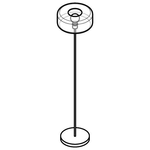 Drawing of 1592.Q.E27/.. - MANON, staanlamp - vast - met snoer en stekker
