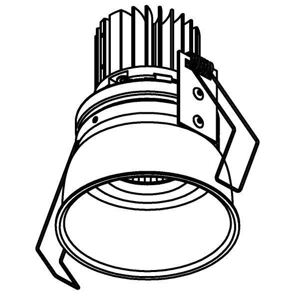 Drawing of XTM.1300.10016.S1/.. - LUXOR Ø80, inbouwspot - rond - vast - met led - zonder LED driver