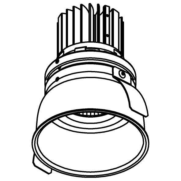 Drawing of XTM.1300.10016.S2/.. - LUXOR Ø80, inbouwspot - rond - vast - met led - zonder LED driver