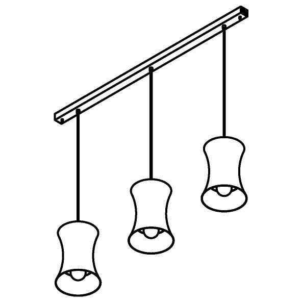 Drawing of 3417.3/.. - CLARA, hanglamp - vast - met 3x Clara Ø250 op basis Juba