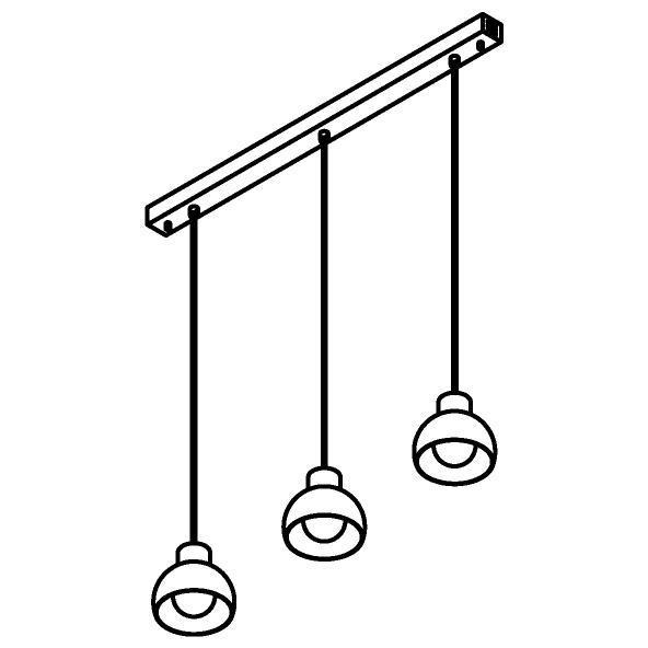 Drawing of 1805.3/.. - OLIVIA, hanglamp met bolgewricht - stang inkortbaar - met 3x Olivia op basis Juba - met LED driver