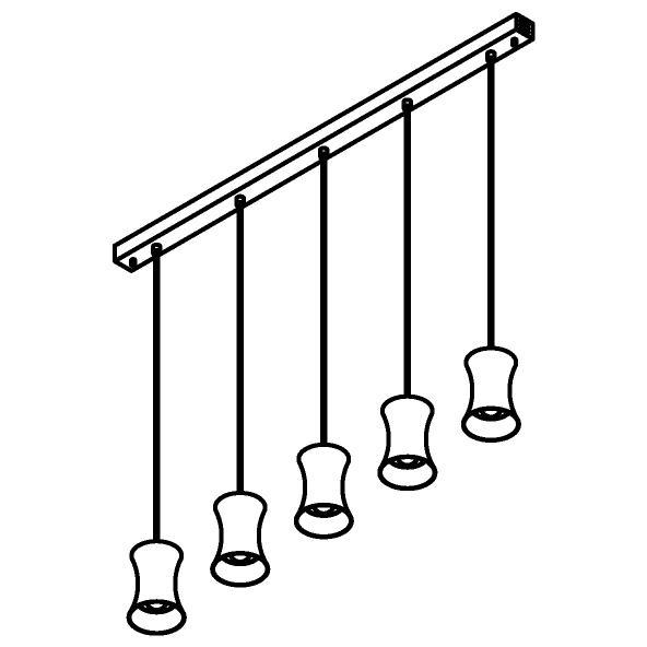 Drawing of 3415.5/.. - CLARA, hanglamp - vast - met 5x Clara Ø120 op basis Juba
