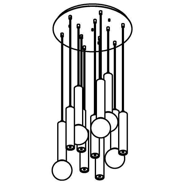 Drawing of 1927.11/.. - MERO, hanglamp - rond - met 11x Mero op basis Rondobox