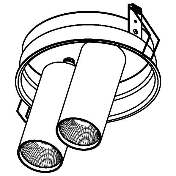 Drawing of 1595.150.S1/.. - PIVOT, inbouwspot - rond - richtbaar - zonder LED driver