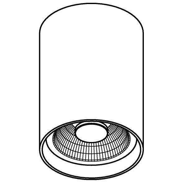 Drawing of W1610/.. - RICHARD - ALU anodised, opbouw plafondverlichting - rond - vast