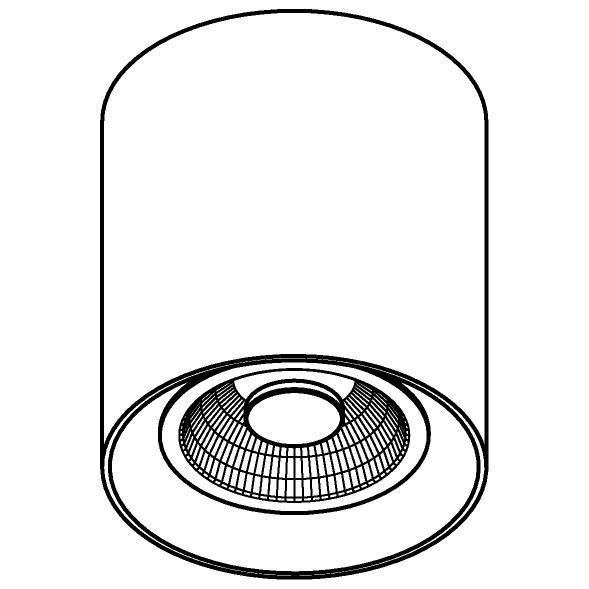 Drawing of W1612/.. - RICHARD - ALU anodised, opbouw plafondverlichting - rond - vast