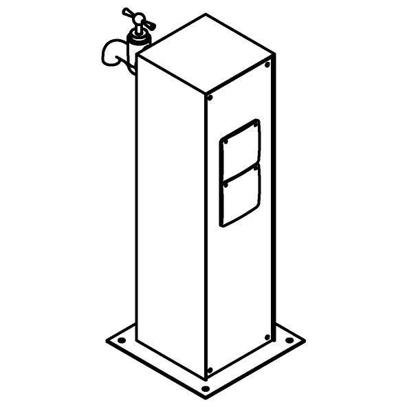 Drawing of T1565/.. - CONTROL BOX, Connecterende zuil - Aansluitdoos met 2 stopcontacten en aftakkingsdoos voor dubbele dienstkraan - incl. watertoevoer