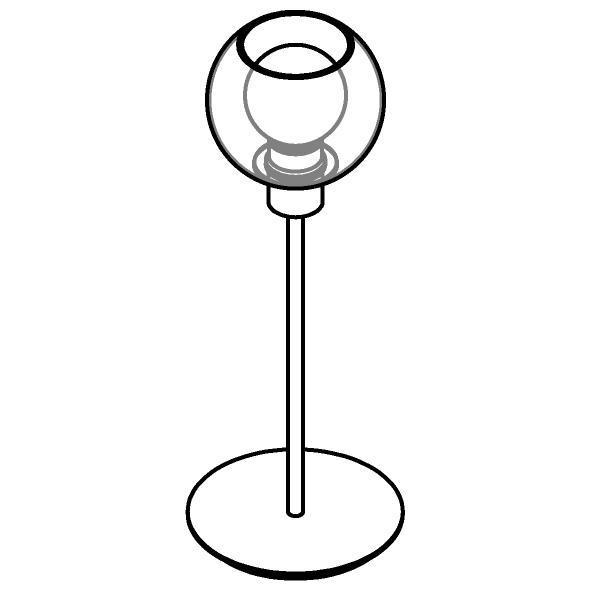 Drawing of 1619.SH.A.300/.. - MOBY SH Ø140, tafellamp - vast - met schakelaar + snoer
