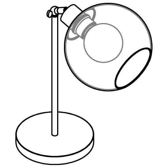 Drawing of 1620.SH.B.300/.. - MOBY SH Ø180, tafellamp - richtbaar - met schakelaar + snoer