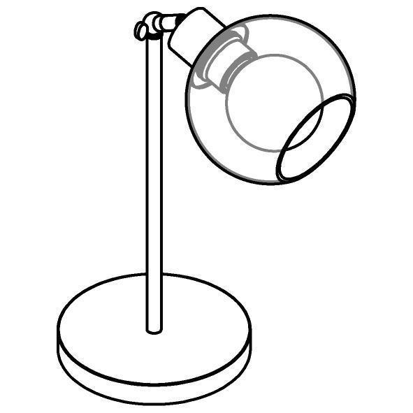 Drawing of 1621.SH.A.300/.. - MOBY SH Ø140, tafellamp - richtbaar - met schakelaar + snoer