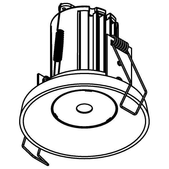 Drawing of 2941.DC.350MA.S1/.. - ODILE, inbouwspot - rond - vast - down - zonder LED driver