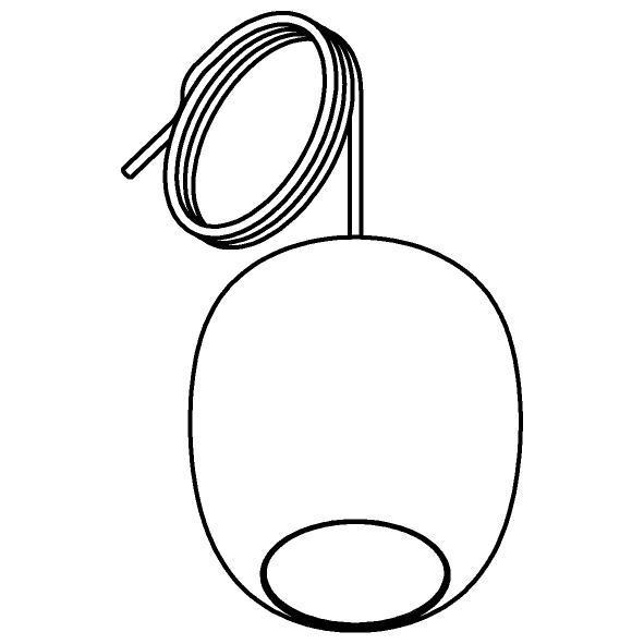 Drawing of 5138.E.E27/.. - MOBY DECO GOLD, hanglamp - met 2m textielkabel en trekontlasting aan fitting