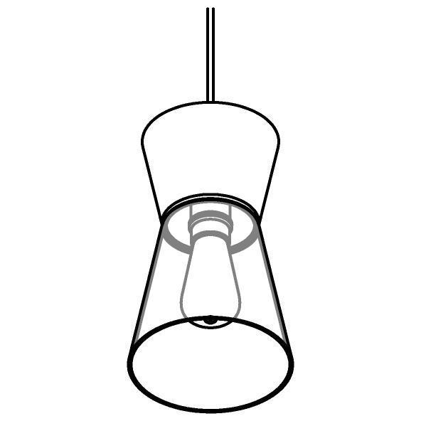 Drawing of 5532.E27.LED/.. - SHAKE GLASS, hanglamp - down/up - met 1,5m kabel - met glas