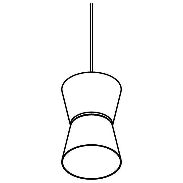 Drawing of 5537.E27.LED/.. - SHAKE METAL, hanglamp - down/up - met 1,5m textielkabel en trekontlasting aan fitting