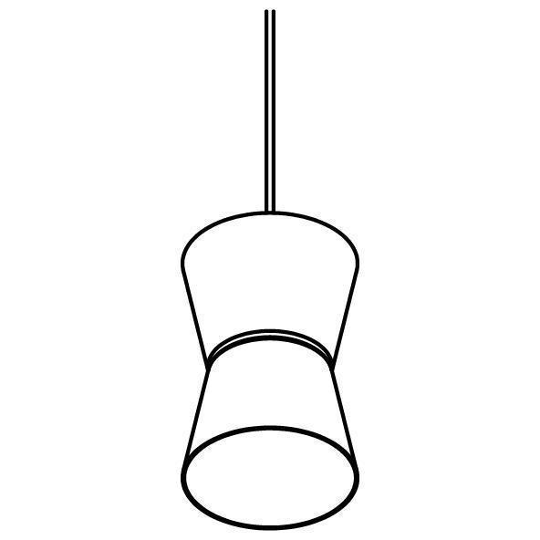Drawing of 5538.LED/.. - SHAKE METAL, hanglamp - down/up - met 1,5m textielkabel en trekontlasting aan fitting