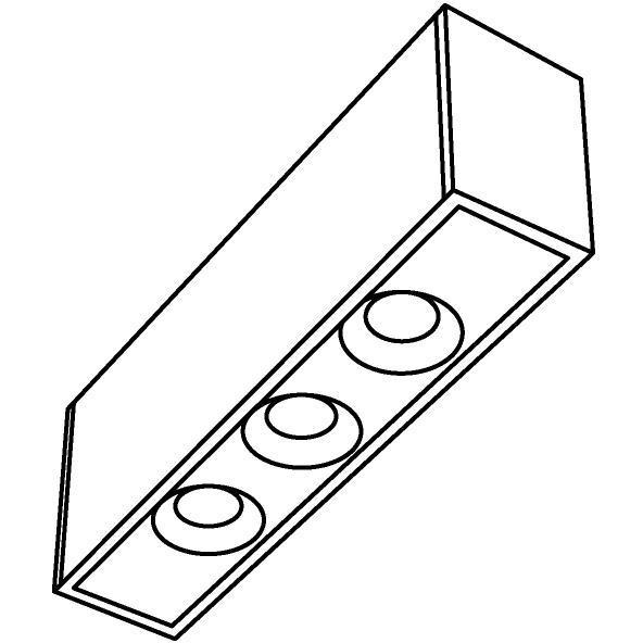 Drawing of 8353/.. - STELLA UP, vierkant - vast - met 3 ronde inbouwspots - met LED driver
