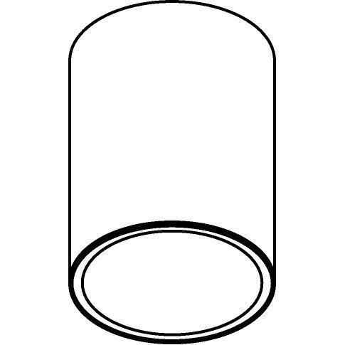 Drawing of 1521.ZXO/.. - CAMELEON DIM LED, opbouw plafondverlichting - rond - vast - down - met glas