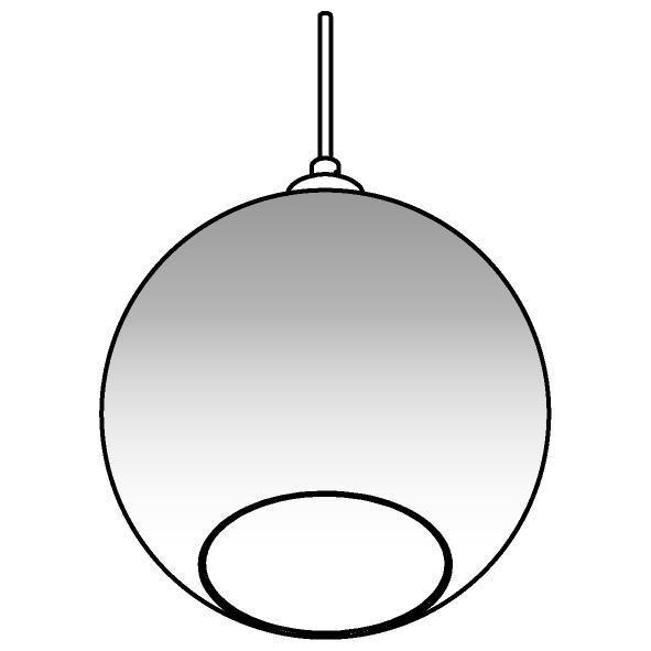 Drawing of 4950.C.E27.SH/.. - Moby Sh Degrade Gold, hanglamp - met 2m textielkabel en trekontlasting aan fitting