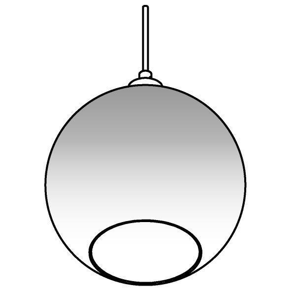 Drawing of 4953.C.E27.SH/.. - Moby Sh Degrade Steel, hanglamp - met 2m textielkabel en trekontlasting aan fitting