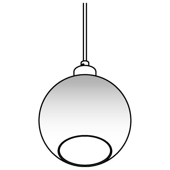 Drawing of 4951.B.E27.SH/.. - Moby Sh Degrade Gold, hanglamp - met 2m textielkabel en trekontlasting aan fitting