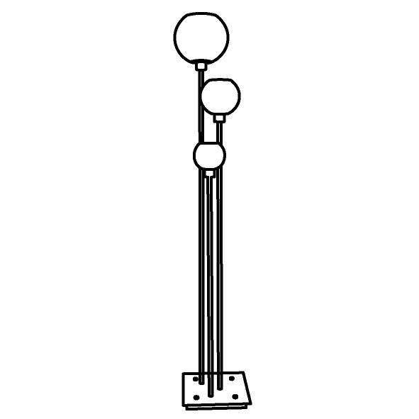 Drawing of 1639.SH/.. - Moby Sh, staanlamp - vast - met schakelaar + snoer