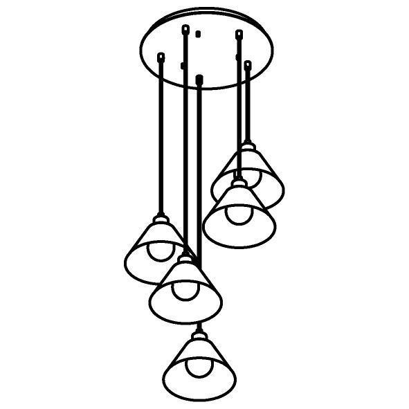 Drawing of 4609.J.E27.SH/.. - ICONIC SH, hanglamp - met 5x 1,5m textielkabel op basis Rondo Box