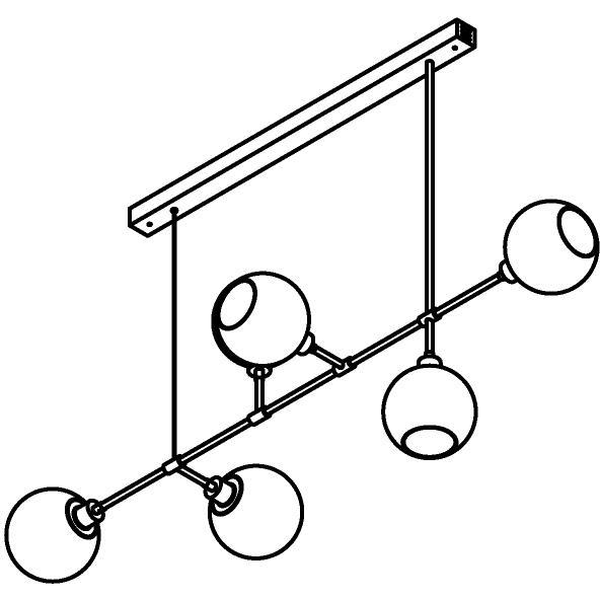 Drawing of 5142/.. - Cleo, hanglamp op tige met opbouwdoos - vast