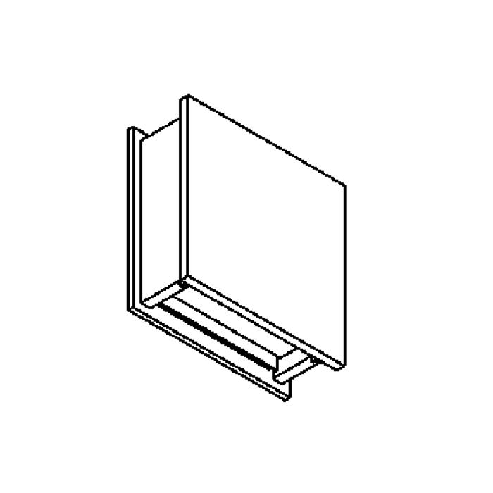 Drawing of 1250C/.. - OUTSIDER, built-up wall light - square - fixed - down - without transformer