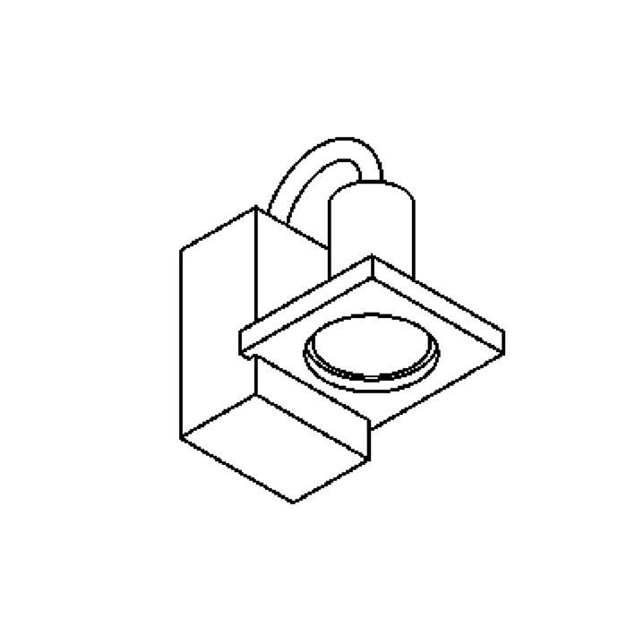Drawing of 1259/.. - HAVANA I, opbouw wandlicht - vierkant - vast - met transfo