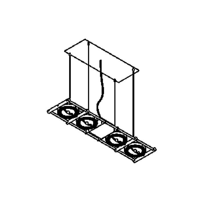 Drawing of 1435/.. - OPERA 4 IN LINE, hanglamp - richtbaar - met transfo