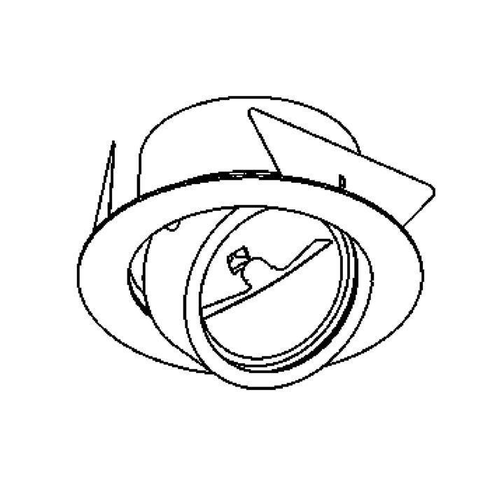 Drawing of 1490/.. - TORPEDO, inbouw plafondverlichting - rond - richtbaar - zonder transfo