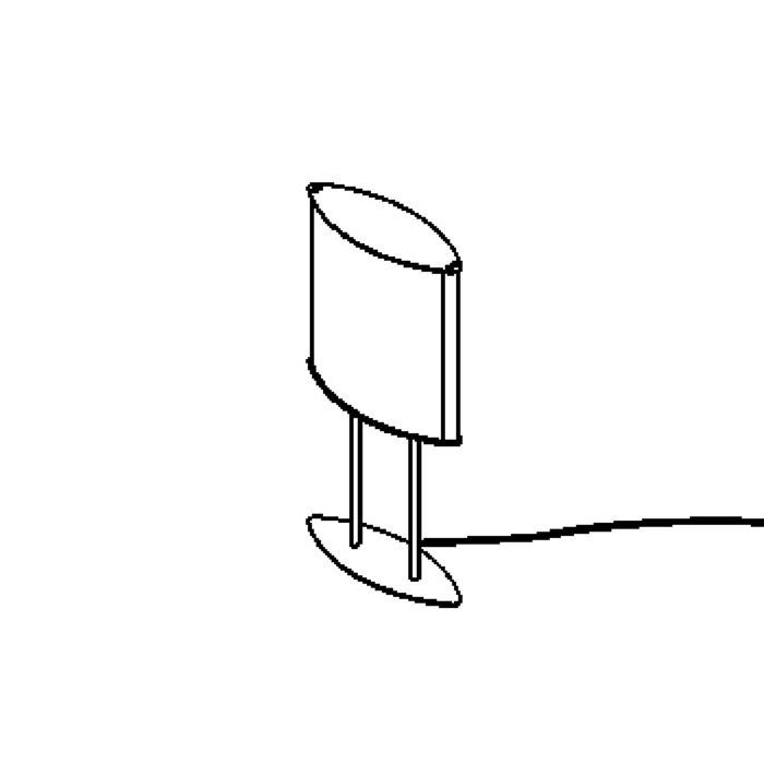 Drawing of 1540/.. - WING TABLE LAMP, tafellamp - met schakelaar - snoer en stekker - met magnetische ballast