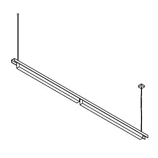 Drawing of 2526.B/.. - CLIP, lichtsysteem - PC 2 x 1200mm - met electronische ballast