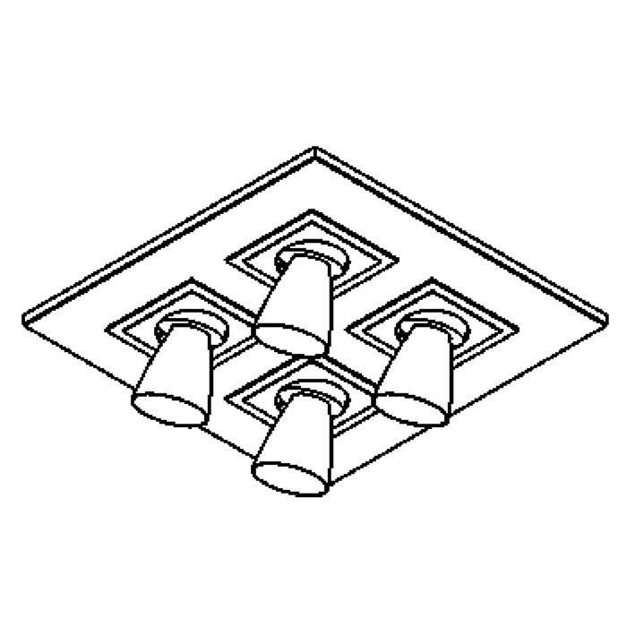 Drawing of 620.DICRO.45/.. - ZOOM CLICK + VOLTA, opbouw plafondverlichting - richtbaar - kelk Ø65 H70 - met transfo