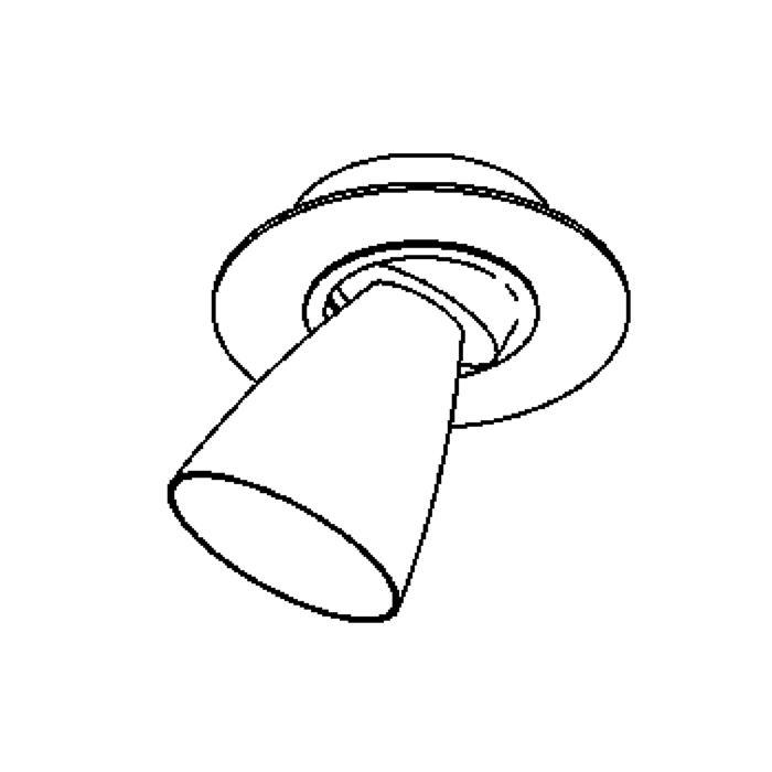 Drawing of 621.DICRO/.. - CUPIDO I, opbouw plafondverlichting - richtbaar - kelk Ø65 H70 - zonder transfo