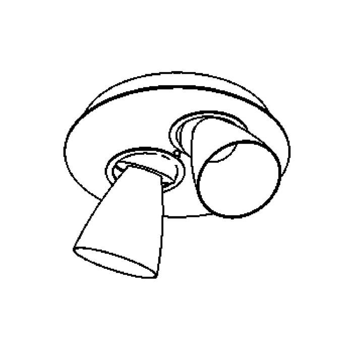 Drawing of 622.DICRO/.. - CUPIDO II, opbouw plafondverlichting - richtbaar - kelk Ø65 H70 - met transfo