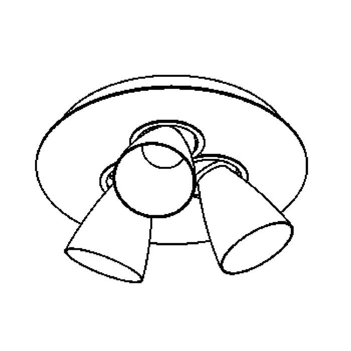 Drawing of 623.DICRO/.. - CUPIDO III, opbouw plafondverlichting - richtbaar - kelk Ø65 H70 - met transfo