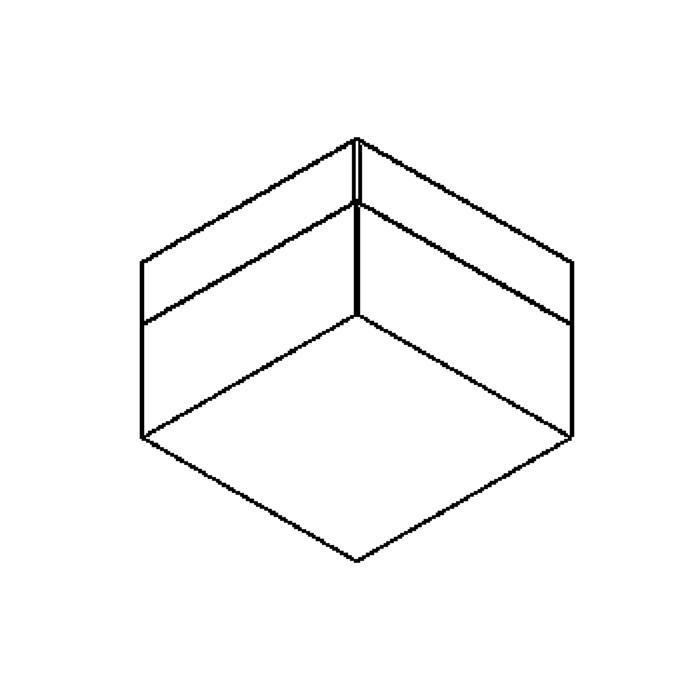 Drawing of 640.100/.. - MONET CARRÉ, plafondverlichting - inox behuizing + polycarbonaat deksel