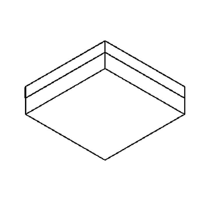 Drawing of 640.200/.. - MONET CARRÉ, plafonnier - boîtier en inox + couvercle en polycarbonate - avec ballast électronique