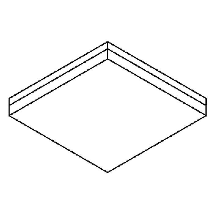 Drawing of 640.400/.. - MONET CARRÉ, plafondverlichting - inox behuizing + polycarbonaat deksel - met electronische ballast