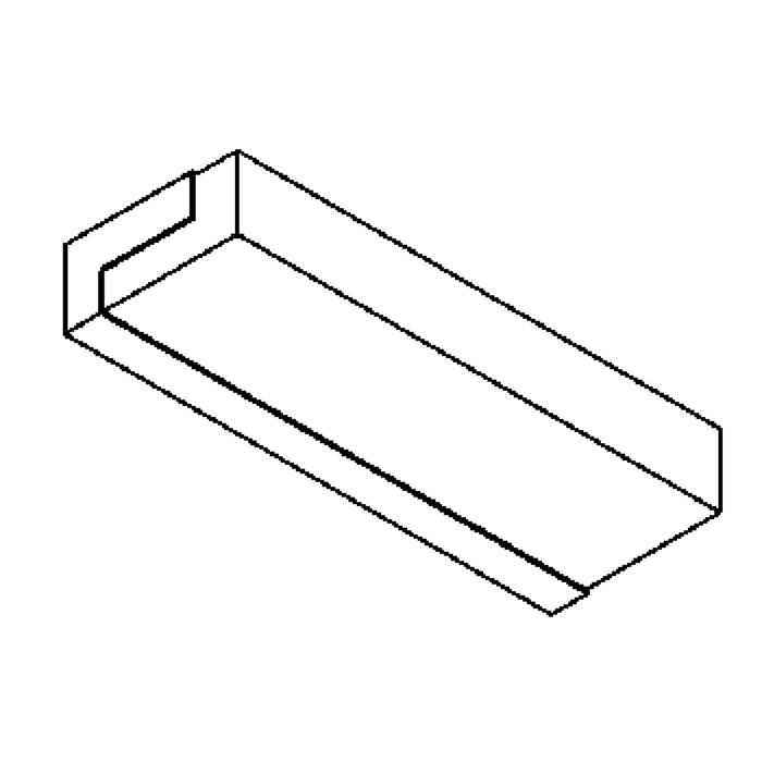 Drawing of 641.HL335/.. - MONET, built-up wall light - stainless steel housing + polycarbonate cover - with magnetic gear